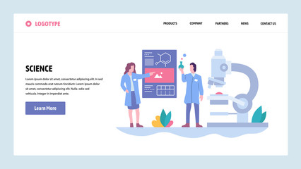 Vector web site gradient design template. Science experiment in a lab. Scientists, microscope, flask. Landing page concepts for website and mobile development. Modern flat illustration.