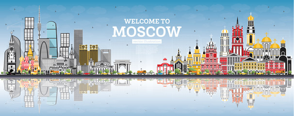 Welcome to Moscow Russia Skyline with Gray Buildings, Blue Sky and Reflections.