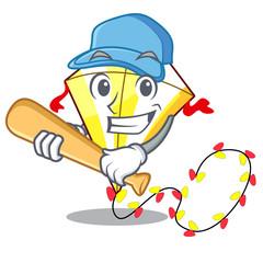 Playing baseball Kite cartoon fly away in sky