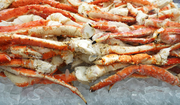 close up on frozen snow crab legs
