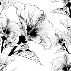 Vector. Hibiscus - flowers and buds. Seamless background pattern. Perfume and cosmetic plants. Wallpaper. Decorative composition. Use printed materials, signs, posters, postcards, packaging.