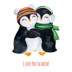 Cute watercolor embracing penguins in winter knitted clothes.Hand painted holiday illustration.Perfect for your Christmas and New Year project,invitations,greeting cards,wallpapers,blogs etc