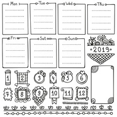Bullet journal hand drawn vector elements for notebook, diary and planner. Doodle frames isolated on white background.