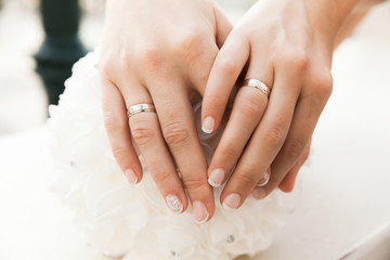 Closeup Of Hands With Wedding Rings Of Two Brides