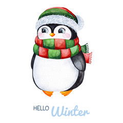 Cute watercolor penguin in winter knitted clothes.Hand painted holiday illustration.Perfect for your Christmas and New Year project,invitations,greeting cards,wallpapers,blogs etc