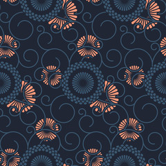 seamless vector pattern template with eastern floral ornaments. design for wrapping, interior, textile