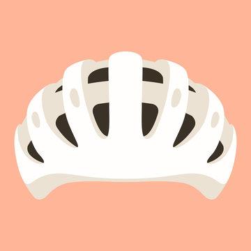 white bicycle helmet, vector illustration ,  flat style
