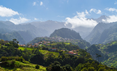Wall Mural - View of  Sao Roque do Faial village and mountain on Madeira island, Portugal