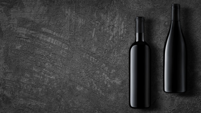 Template concept two wine bottle for your design and advertising company promotion your of product on dark grey concrete background. Wine bottle mockup with copy space. Top view