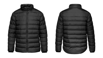Blank template black down jacket with zipped, front and back view isolated on white background. Mockup winter sport jacket for your design Wall mural