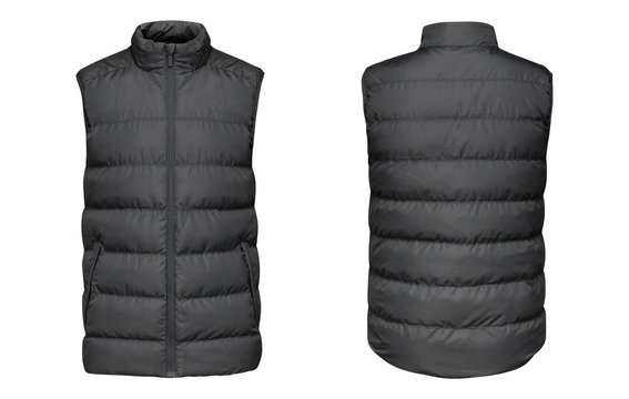 Blank template grey waistcoat down jacket sleeveless with zipped, front and back view isolated on white background. Mockup gray winter sport vest for your design