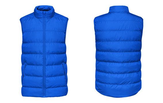 Blank template blue waistcoat down jacket sleeveless with zipped, front and back view isolated on white background. Mockup winter sport vest for your design