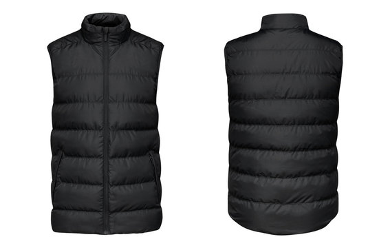 Blank template black waistcoat down jacket sleeveless with zipped, front and back view isolated on white background. Mockup winter sport vest for your design