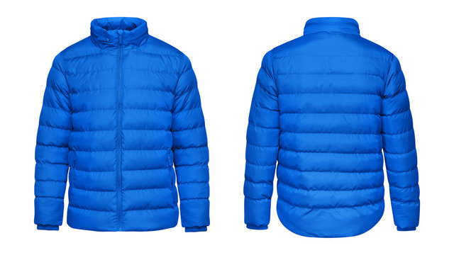 Blank template blue down jacket with zipped, front and back view isolated on white background. Mockup winter sport jacket for your design