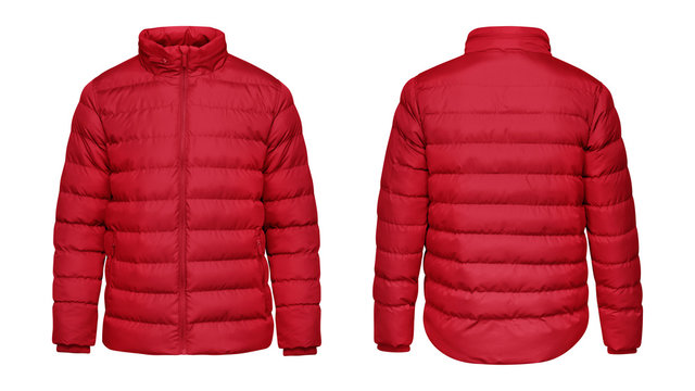 Blank template red down jacket with zipped, front and back view isolated on white background. Mockup winter sport jacket for your design