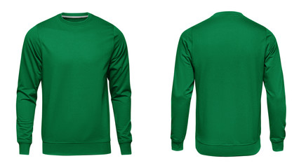 Blank template mens green sweatshirt long sleeve, front and back view, isolated on white background with clipping path. Design pullover mockup for print Wall mural