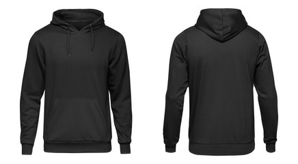Blank black male hoodie sweatshirt long sleeve with clipping path, mens hoody with hood for your design mockup for print, isolated on white background. Template sport winter clothes