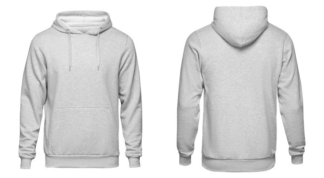 Blank gray mens hoodie sweatshirt long sleeve, mens hoody with hood for your design mockup for print, isolated on white background. Template sport winter clothes