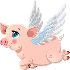 Pretty pink flying pig with wings. Vector illustration of cute pig cartoon isolated on white background. Pig cartoon character