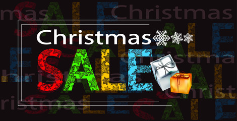New Year's advertising banner. Christmas sale, the inscription, small boxes and snowflakes on a dark background with text.