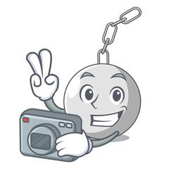 Photographer wrecking ball isolated on a mascot