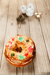 Spanish typical epiphany cake with Christmas ornaments