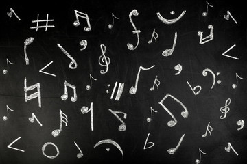 musical notes drawn in white chalk on a blackboard, background image