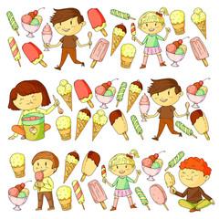 Small children eating ice cream. Sweet strawberry candy for kids. Tasty vanilla, orange, kiwi dessert.