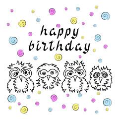 Happy birthday. Cute owls.