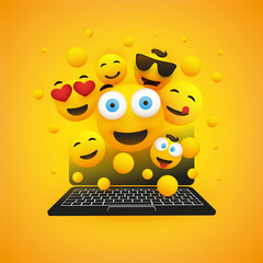 Various Smiling Happy Yellow Emoticons in Front of a Laptop Computer's Screen, Vector Concept Design