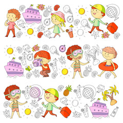Happy children playing at seashore, beach, sea, ocean. Kids vacation and travelling. Swimming, doodle icons globe, cruise ship, cocktails.