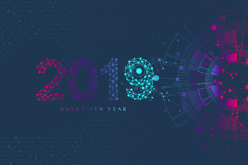 Computer motherboard vector background with circuit board electronic elements. Text design Christmas and Happy new year 2019. Electronic texture for computer technology, engineering concept 2019