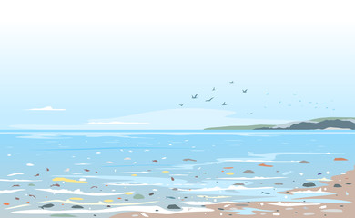 Coast polluted of plastic trash, garbage in sea water ecological disaster concept illustration, environmental pollution, trash in seawater, garbage on the beach