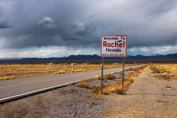 Welcome to Rachel street sign on SR-375 in Nevada, USA Wall mural