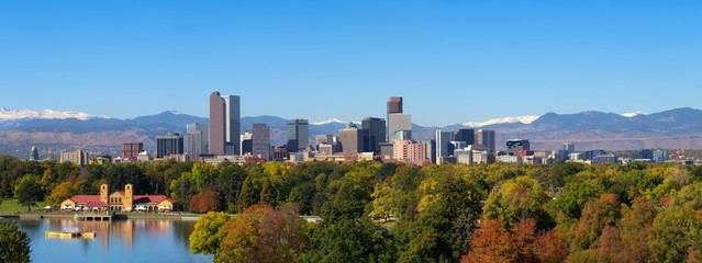Skyline of Denver downtown with Rocky Mountains Wall mural