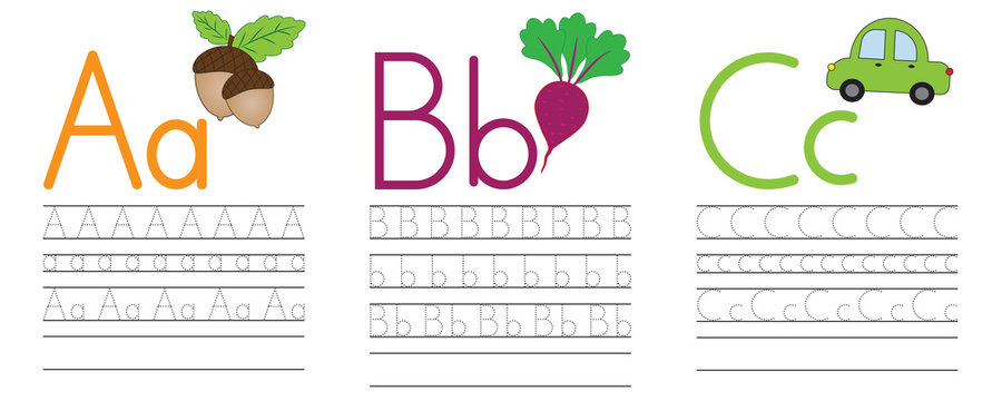 Writing practice of letters A,B,C. Education for children. Vector illustration