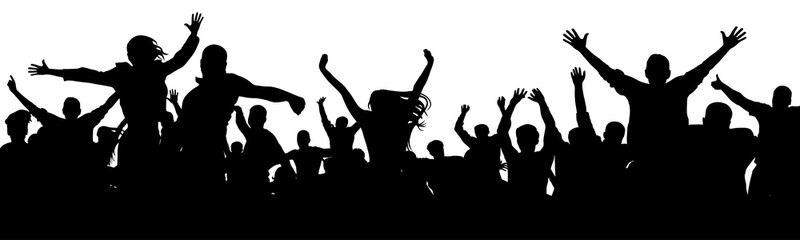 Cheerful people having fun celebrating. Crowd of fun people on concert, party, holiday. Applause people hands up. Cheer audience. Silhouette Vector Illustration