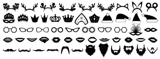 Photo booth props. New year (Christmas) party set. Glasses, hats, lips, beard, antler, kokoshnik, crown, mask. Vector illustration.
