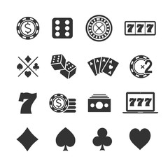 Vector image set of gambling icons.Casino icons.