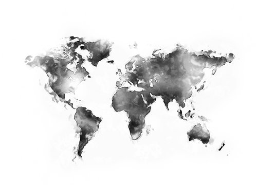 World map ink watercolour painting isolated on white background