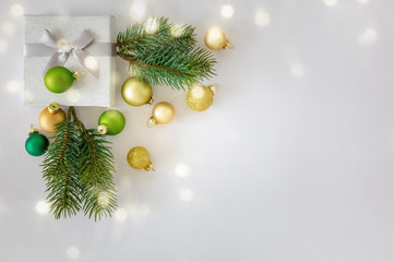 Christmas decoration white background with gift box