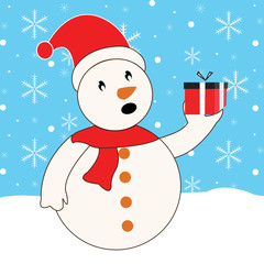 Winter Snowman vector illustration with gift and snowflakes