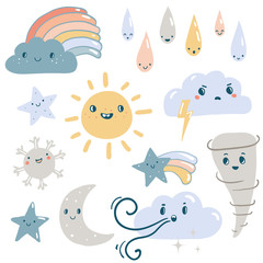 Funny weather vector set.