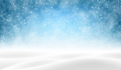 Blue background with winter landscape and snow for seasonal, Christmas and New Year decoration.