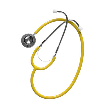 yellow stethoscope medical instrument on top view for heart or lung and health respiratory check in hospital or clinic on white background isolated included clipping path