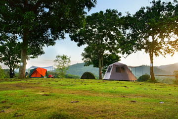 nature landscape camping tent with tree on green grass meadow and mountain in jungle garden or forest with blue sky for family vacation picnic on holiday relax travel in autumn winter on sunlight