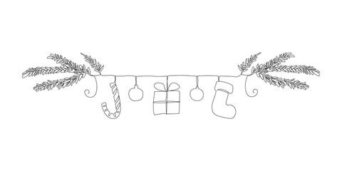 One line christmas symbols border: christmas tree brunch, candy cane, balls, gift, sock. Continuous line drawing isolated on white background.