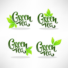 glossy and shine green herbal tea leaves and lettering compositionfor your logo, emblem and sticker