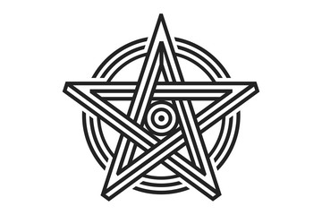 Pentagram sign - five-pointed star. Magical symbol of faith. Simple flat dark illustration.