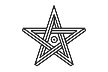 Pentagram sign - five-pointed star. Magical symbol of faith. Simple flat dark illustration.